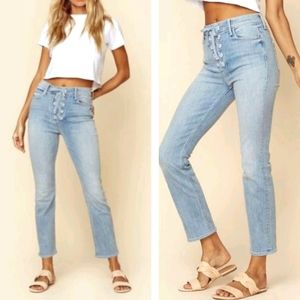 MOTHER Denim The Lace Up Dazzle Ankle Jeans
